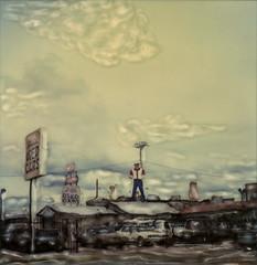 Cowboy Muffler Man (tobysx70) Tags: new toby man west cars film hat car sign mexico polaroid sx70 photography cowboy time lot manipulation 66 used route instant sonar hancock nm coal gallup avenue zero rt muffler rte tz johns dealer emulsion