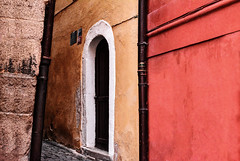 Medieval Street (Tanya.Kirilova) Tags: street wall walls wallabstract medieval cheb europe geometry geometrie composition stonewall door urban urbanabstract urbantexture texture ochre yellow maroon faade faades brick minimalist minimalism