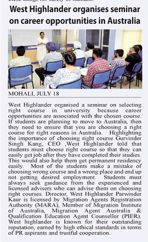 Leading NewsPaper Yugmarg reported news about Study in Australia Seminar organized by West Highlander