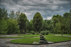a park (rgbshot72) Tags: park trees sky clouds tree summer grass square green town city nikon d800e outdoor