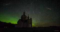 Perseids + Aurora, Thorhild Co., Alberta (WherezJeff) Tags: 2016 thorhild perseids abee alberta canada ca composite aurora diffuse church