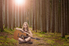 Rockstar in the woods (Lenny K Photography) Tags: guitarist girl woods forest sitting sit fantasy image composition compositing digital blend free creative commons use attribution cc light flare sun female guitar musician music post processing photo editing photoshop cs6
