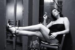 Ines Backstage (Mental Octopus) Tags: woman stripper smoking backstage monochrome legs sexy nightlife bargirl showgirl safari sextheater hamburg reeperbahn germany erotic redlight redlightdistrict sexworker workingpoor socialissue