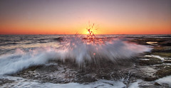Sunrise sprinkles (Howard Ferrier) Tags: oceania sunrise coralsea contrejour time splash panorama sea seq sun ocean sunshinecoast motion photography australia pacificocean waves shelleybeach caloundra astronomy queensland