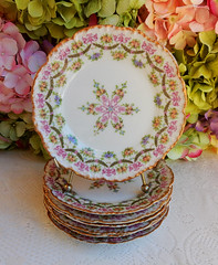 Antique Limoges Porcelain Plates ~ Pink Rose Swags Center Medallion Gold (Donna's Collectables) Tags: antique limoges porcelain pink rose swags medallion gold thanksgiving christmas