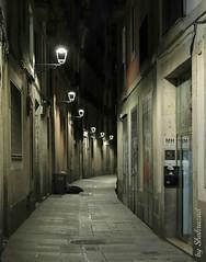 The streets of Barcelona (Shahrazad26) Tags: barcelona barrigotic catalunya spanje spain spanien espagna espagne nightshot nachtopname streetlamps