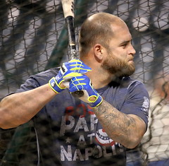 Indians first baseman Mike Napoli takes batting practice during Sunday's workout at Progressive Field. (apardavila) Tags: postseason wordseries baseball clevelandindians majorleaguebaseball mikenapoli mlb progressivefield sports worldseries