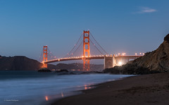 The Golden welcoming the night (claugrodriguez) Tags: goldengatebridge sanfrancisco beach bridge evening landscapephotography longexposure ocean sea urbanphotography california usa