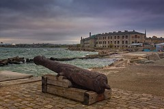 Old Cannon And The Patarei Prison (k009034) Tags: 500px waves baltic sea countries copy space estonia patarei tallinn abandoned architecture autumn brick building cannon clouds gun harbour historical landmark museum no people old prison rocks rust sky travel destinations teamcanon
