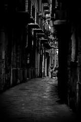 [ Vie battute - Walked streets ] DSC_0565.2.jinkoll (jinkoll) Tags: street old city bw dark walking point alley women doors perspective balconies sicily avenue cobbles palermo vanishing sicilia