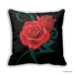 Tribal Tattoo Rose Pillow (shaire productions) Tags: flowers art nature floral rose retail tattoo design artwork graphic designer tribal pillow indie merchandise product tattooing zazzle shaireproductions