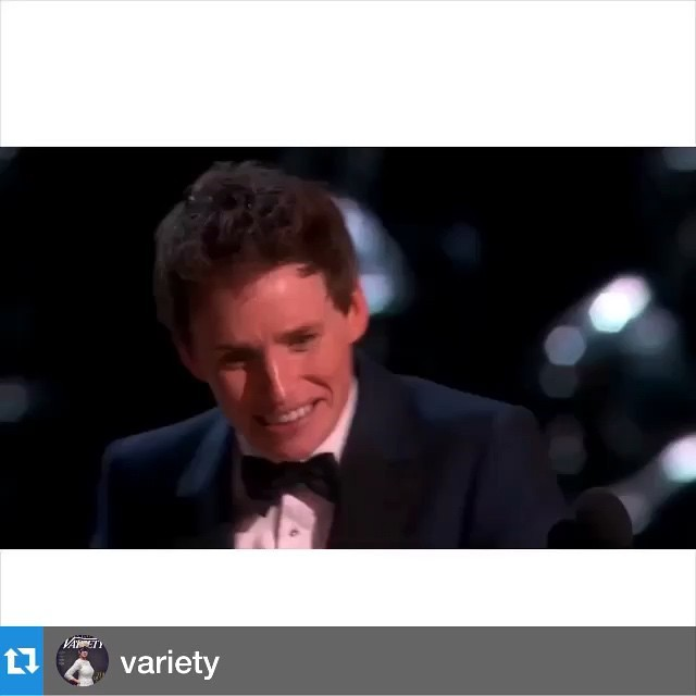regram @focusfeatures #Repost @variety: Eddie Redmayne just couldnt contain his excitement on stage at the #Oscars!