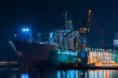 187 (pbo31) Tags: sanfrancisco california black color silhouette night dark nikon december ship navy repair sail service 187 drydock missionbay d800 2014