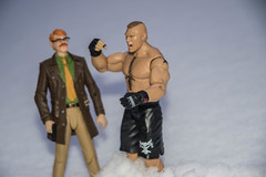 Gordon and Lesnar in the Snow (misterperturbed) Tags: winter snow dccomics wrestlers mattel wwe brocklesnar commissionergordon new52 dccollectibles