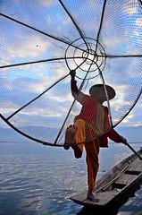 Traditional Fisherman (jennifer.stahn) Tags: travel portrait lake balloons one fisherman burma leg myanmar inle birma mandalay bagan einbeinruderer