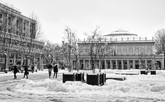 Scorcio di Piazza (Simone Burani ) Tags: street winter urban blackandwhite bw italy snow monochrome architecture landscape photography daylight blackwhite reflex nikon italia day view bn fisheye neve around dslr exploration architettura biancoenero reggioemilia picoftheday autofocus bestpic likeit samyang bigsnow blackwhitephotos esplorazione stphotography nikonflickraward reflectyourworld d5100 samyang8mm mygearandme nikonclubit nikond5100 bwoftheday