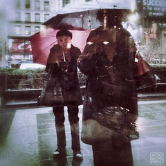 Rainy Day Reflections. 337/365 www.jessica365.com (Jessica Brookes-Parkhill) Tags: nyc newyork rain reflections broadway umbrellas throughawindow fridaze rainydayreflections jessica365 umbrellastories