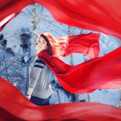 Gone With The Wind (MAR_S_) Tags: winter red portrait girl hair outside flying wind surrealism fineart surreal floating fabric portraiture cloth conceptual redhair week6 conceptualphotography conceptualportrait joelrobison wonderweeks