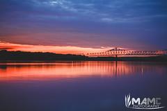 Savanna, Illinois Summer Sunset (MAMC Photography) Tags: bridge sunset sky sun beautiful clouds river mississippi illinois dock savanna
