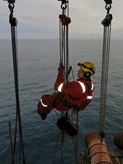 Rope Access Inspection (Craig Hannah) Tags: uk sea industry work scotland industrial offshore inspection descent platform gas northsea rig oil abseil ndt ropeaccess ropeaccesstechniques workatheights ropeaccessphotos