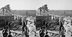 3D 03401 Atlanta, Ga. Federal soldiers by gun in captured fort (partially restored) (3D shoot) Tags: old stereoscopic 3d war gun stereo civil american soldiers parallel federal 3dshoot