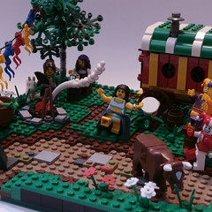 The Gypsie Faire of South Bend Shire - Willowstone Modular Countryside (jgg3210) Tags: tree wagon countryside lego dancing bend south dancer flags campfire modular shire gypsy gypsies gypsie moc galacia willowstone stillmoss
