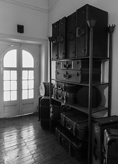 Suitcases (Eduardo Estllez) Tags: bw blancoynegro portugal vertical monocromo arte viajes abstracto alentejo historia evora exposicion suitcases cadaval maletas nadie maquetas duques amontonados palaciio