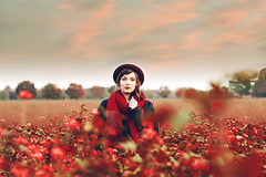 red autumn (caras.muffin) Tags: autumn light sunset red portrait woman nature girl beautiful vintage 50mm pentax retro hut selftaught