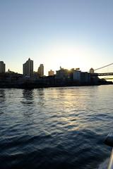 Ride to Dumbo (IvanaEscalera) Tags: nyc bridge sunset newyork ferry brooklyn river boat fuji manhattan brooklynbridge fujifilm xt1