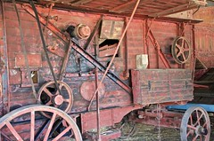 Thrashing (threshing) machine belt driven by steam traction engine (outback traveller) Tags: historic seq