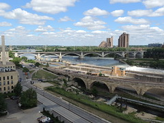 Mill City Museum view (Anita363) Tags: city sky mill minnesota clouds river minneapolis cumulus mississippiriver mn stanthonyfalls nationalhistoriclandmark washburnamill millcitymuseum nationalregisterofhistoricplaces cumulushumilis