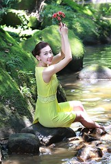 DP1U7848 (c0466art) Tags: light portrait sunlight white water beautiful yellow creek canon pose scenery colorful pretty bright outdoor quality gorgeous chinese skirt peipei charming elegant pure oversea indonisia 1dx c0466art