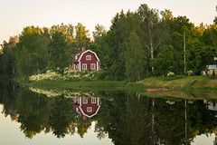 Red Cottage (TimStrat) Tags: sunset red summer house reflections finland river riverside cottage