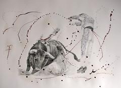 El Banderilleros 2 (www.kevinmaxwellsfineart.com) Tags: bulls bullfighting josetomas graphite chinagraph blood anegitive blackandwhite toros torosymatadores matadores drawing spanish espana banderilleros