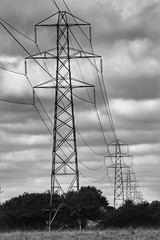 Electricity (Yours Behaviourally) Tags: manmade structure architecture noiretblanc schwarzundweiss monochrome white black blackandwhite nickfewings dorset uk bournemouth perspective smaller distance pylons pylon electricity electric