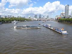 Turning (moley75) Tags: london skyline clouds river mooring riverboat cityoflondon waterloobridge centrallondon thamesmead leisureboat threepointturn