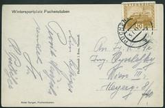 Archiv G541 Wintersportplatz in  Puchenstuben, sterreich, Karte (back) vom 5. Januar 1931 (Hans-Michael Tappen) Tags: archivhansmichaeltappen ansichtskarte text schrift briefmarke stamps poststempel 1930er 1930s 1931