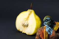 Deeper Thinks with BeeZeer (Marked_man) Tags: deeperthinks filosfer filosofee beezeer zombie pear fruit humor laugh fun montypython ericthehalfabee 3a threea ashleywood adventurekartel toy collectible actionfigure urban vinyl ponder pondering thinking