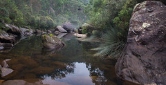 Jelly Bean Pool (Richard Sollorz Photography) Tags: park blue mist mountains heritage tourism nature water pool fog landscape outdoors sandstone rocks natural native australia bean fresh explore hidden national pools richard bushwalking nsw jelly gorge gem glenbrook sollorz
