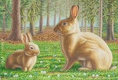 Conversazione ai margini del bosco (lerri) Tags: arte kunst art dipinto olio quadro animali conigli coniglio coniglietti pets natura nature rabbit kaninchen hase bunny bunnies