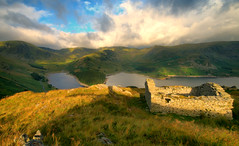 Haweswater Reservoir (Andy Watson1) Tags: haweswater penrith lake district national park cumbria lakedistrict morning light early summer july barn ruin mountains high street highstreet england english uk united kingdom great britain british shadow landscape view scenery scenic countryside reservoir grass fell fells water clouds blue green travel trip canon 70d sigma