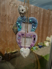 custom order (jessicagreen5) Tags: gift bling sparkle rhinestones decoration decoden hearts hanging wall chic shabby seaside rustic photoframe lilac blue pale pearl flower