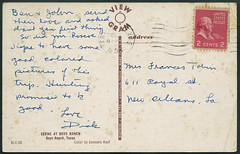 "Archiv G547 ""Scene At Boys Ranch"" (back), USA, Texas, 1955 (Hans-Michael Tappen) Tags: archivhansmichaeltappen usa postcard south 1950er 1950s 1955 texas text handschrift briefmarke poststempel stamps"
