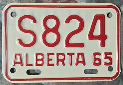 ALBERTA 1965 ---MOTORCYCLE PLATE #S824 (woody1778a) Tags: alpca alberta motorcycle licenseplate registrationplate numberplate mycollection myhobby canada hobby vintage woody edmonton