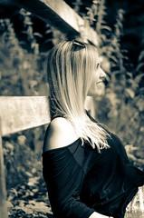August 2016 (stefan_wolpert) Tags: woman portrait portraiture portraiturephotography portrtfotografie classicportrait monochrome sepia nikon nikond5100 50mm18 mood forest eveninghour germany southerngermany badenwuerttemberg sunglasses smiling profile bridge woodenbridge relaxed entspannt lcheln sonnenbrille brcke holzbrcke wald bume
