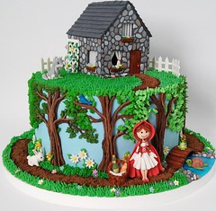 Little Red Riding Hood (Edible Delights) Tags: littleredridinghood cottage house cute gumpaste fondant cake bunny turtle fence garden flowers frog spring woods forest trees wolf girl basket wine bread