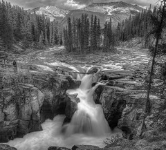 Enjoying the View (John Payzant) Tags: falls jasper park panorama hdr bw alberta canada sunwapta
