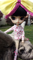 I have a friend (Mel's Girls) Tags: dal sooni pullip blythe gargoyle outdoors cute bow japanese