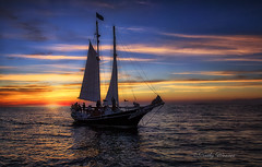 Sailing Home (kweaver2) Tags: kathyweaver photography sail boat sunset grandhaven michigan lakemichigan lake greatlakes water sky clouds