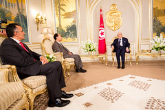Official visit at the Presidential Palace. (ITU Pictures) Tags: محمد الباجي قائد السبسي wtsa16 houlin zhao beji caid essebsi bilel jamoussi